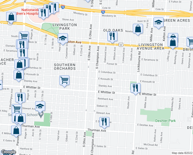 map of restaurants, bars, coffee shops, grocery stores, and more near 970 South Champion Avenue in Columbus