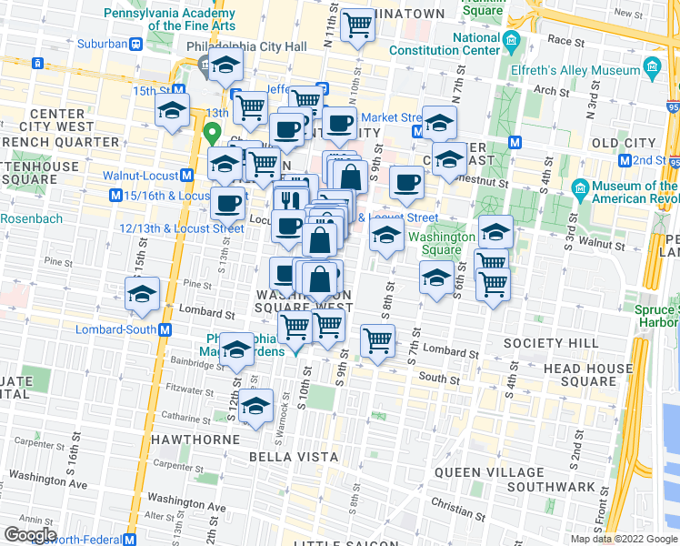 map of restaurants, bars, coffee shops, grocery stores, and more near 916 Spruce Street in Philadelphia