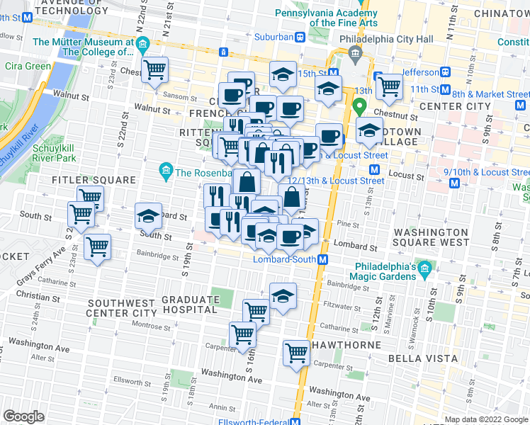 map of restaurants, bars, coffee shops, grocery stores, and more near 341 South 17th Street in Philadelphia