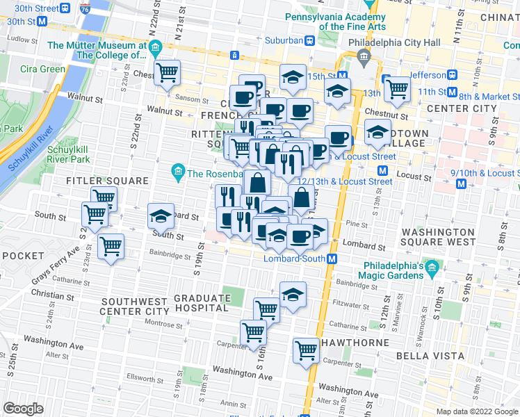 map of restaurants, bars, coffee shops, grocery stores, and more near S 17th St & Pine St in Philadelphia