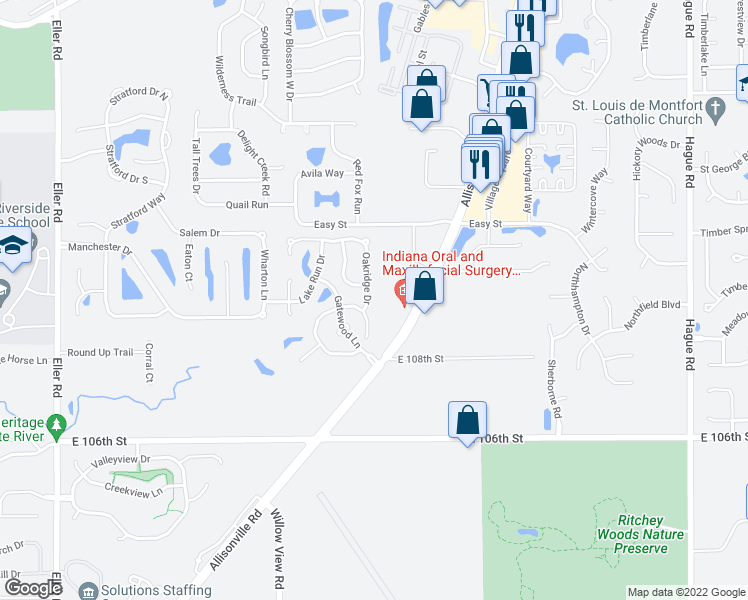 map of restaurants, bars, coffee shops, grocery stores, and more near 11012 Oakridge Drive in Fishers