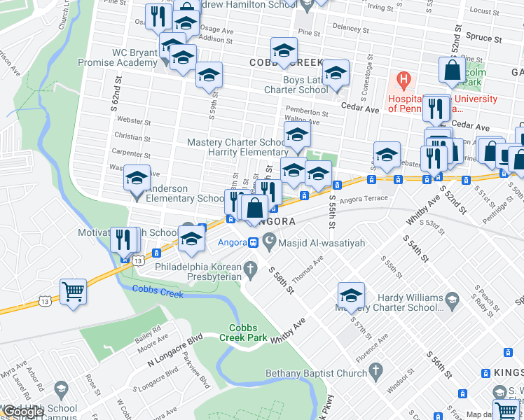 map of restaurants, bars, coffee shops, grocery stores, and more near Baltimore Ave & S 57th St in Philadelphia