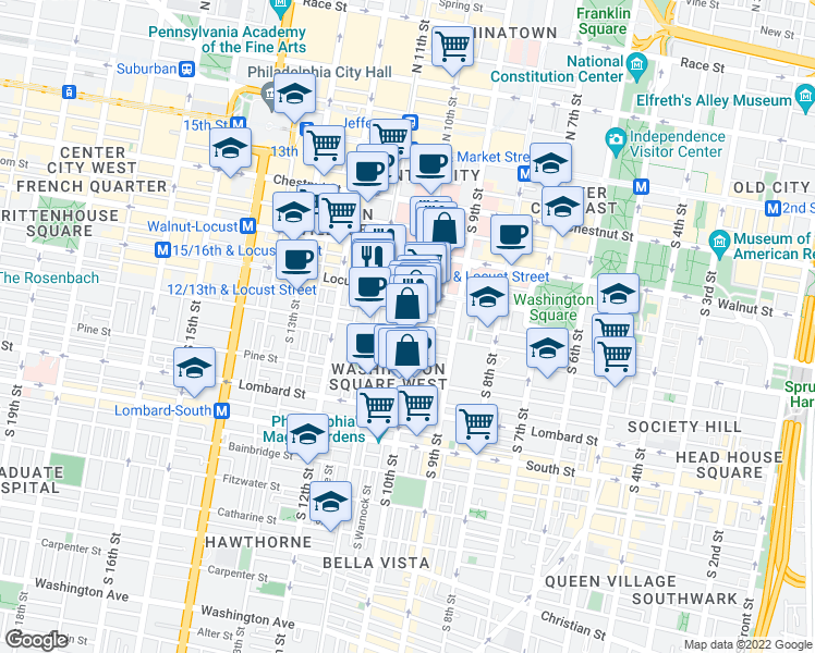 map of restaurants, bars, coffee shops, grocery stores, and more near 913 Manning Street in Philadelphia