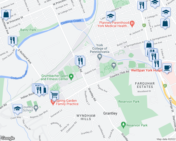 map of restaurants, bars, coffee shops, grocery stores, and more near 515 Dupont Avenue in York