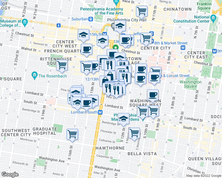 map of restaurants, bars, coffee shops, grocery stores, and more near 304 South Juniper Street in Philadelphia