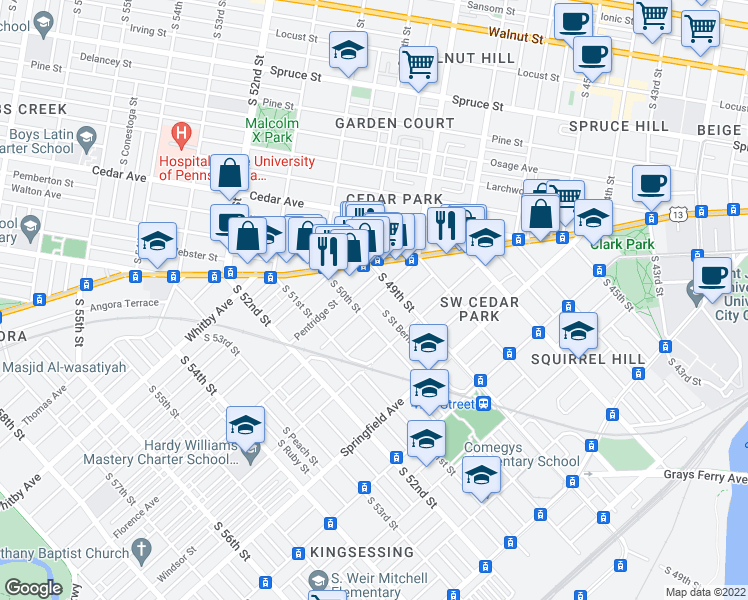 map of restaurants, bars, coffee shops, grocery stores, and more near Florence Ave & S St Bernard St in Philadelphia