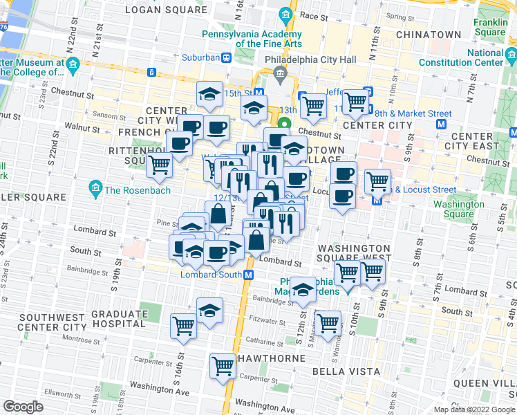 map of restaurants, bars, coffee shops, grocery stores, and more near South Broad Street & Spruce Street in Philadelphia