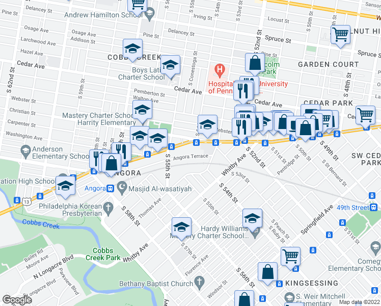 map of restaurants, bars, coffee shops, grocery stores, and more near 5403 Angora Terrace in Philadelphia