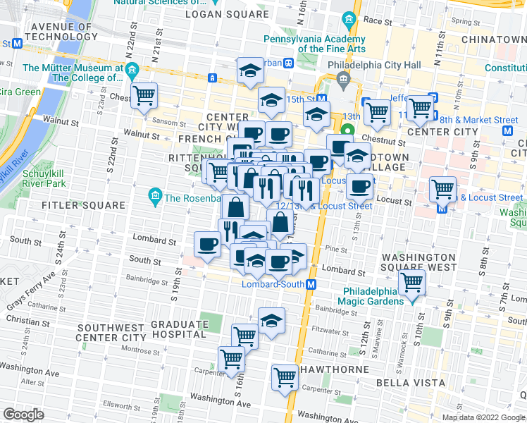 map of restaurants, bars, coffee shops, grocery stores, and more near 1606 Spruce Street in Philadelphia
