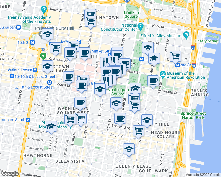 map of restaurants, bars, coffee shops, grocery stores, and more near 709 Walnut Street in Philadelphia