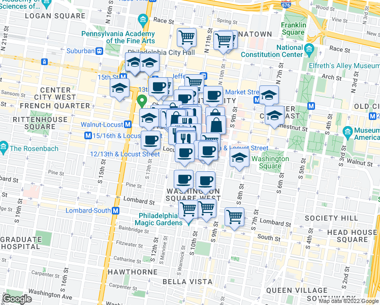 map of restaurants, bars, coffee shops, grocery stores, and more near South 11th Street & Locust Street in Philadelphia