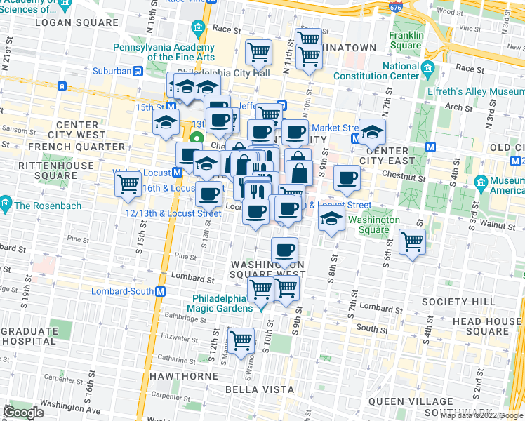 map of restaurants, bars, coffee shops, grocery stores, and more near S 11th St & Locust St in Philadelphia