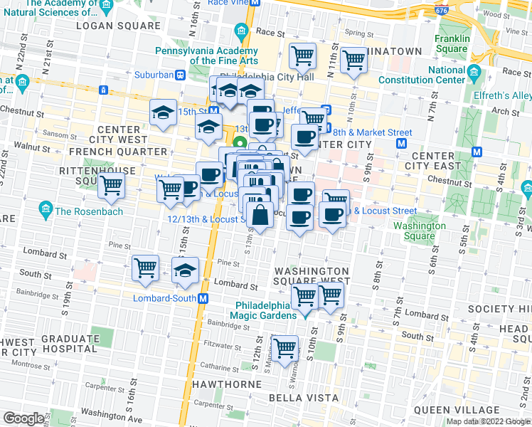 map of restaurants, bars, coffee shops, grocery stores, and more near 1233 Locust Street in Philadelphia
