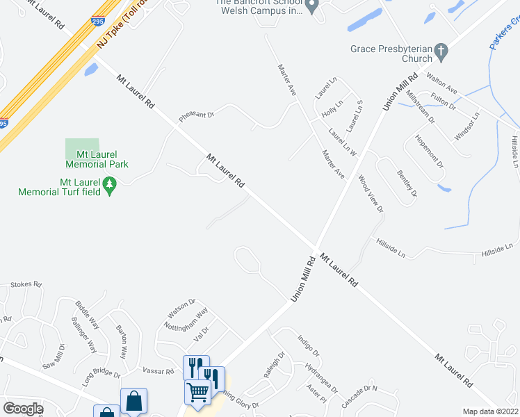 map of restaurants, bars, coffee shops, grocery stores, and more near 23 Iris Court in Mount Laurel