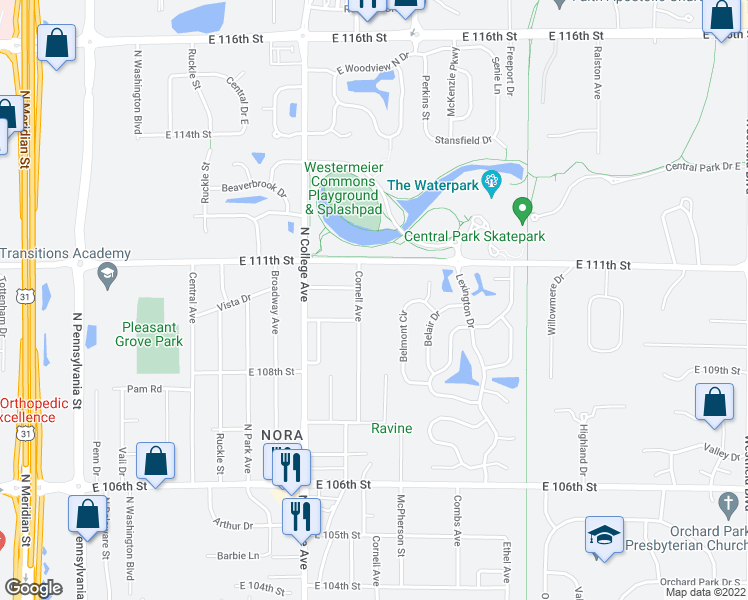 map of restaurants, bars, coffee shops, grocery stores, and more near 11067 Cornell Avenue in Indianapolis