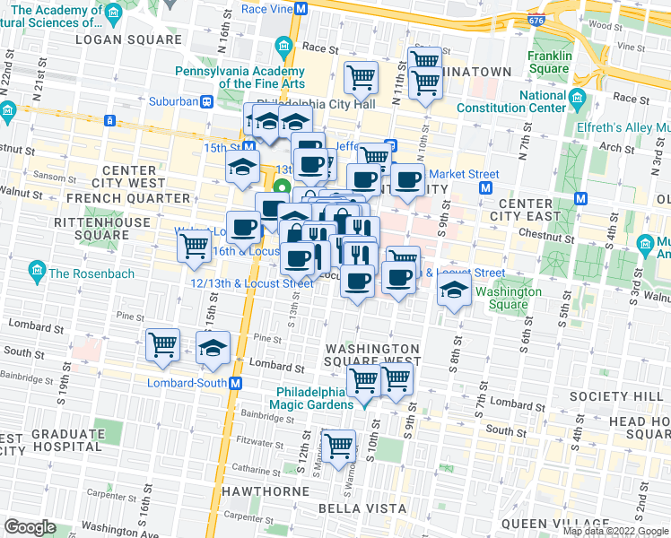 map of restaurants, bars, coffee shops, grocery stores, and more near 221 South 12th Street in Philadelphia