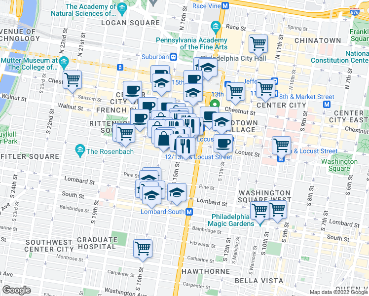 map of restaurants, bars, coffee shops, grocery stores, and more near 1420 Locust Street in Philadelphia