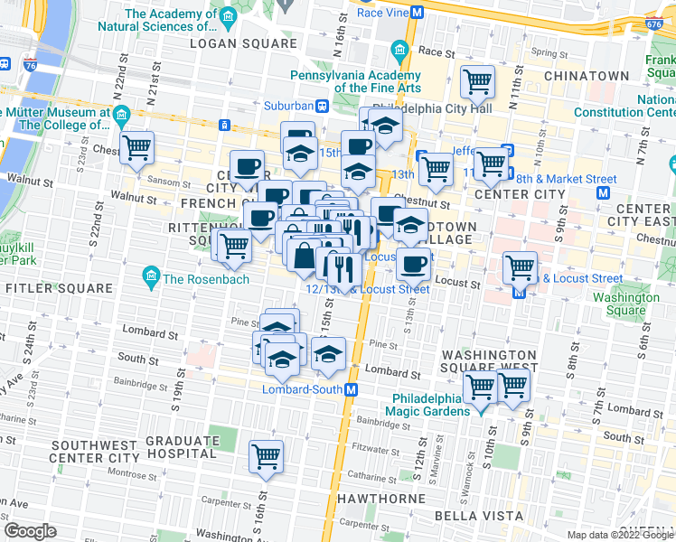 map of restaurants, bars, coffee shops, grocery stores, and more near 1500 Locust Street in Philadelphia