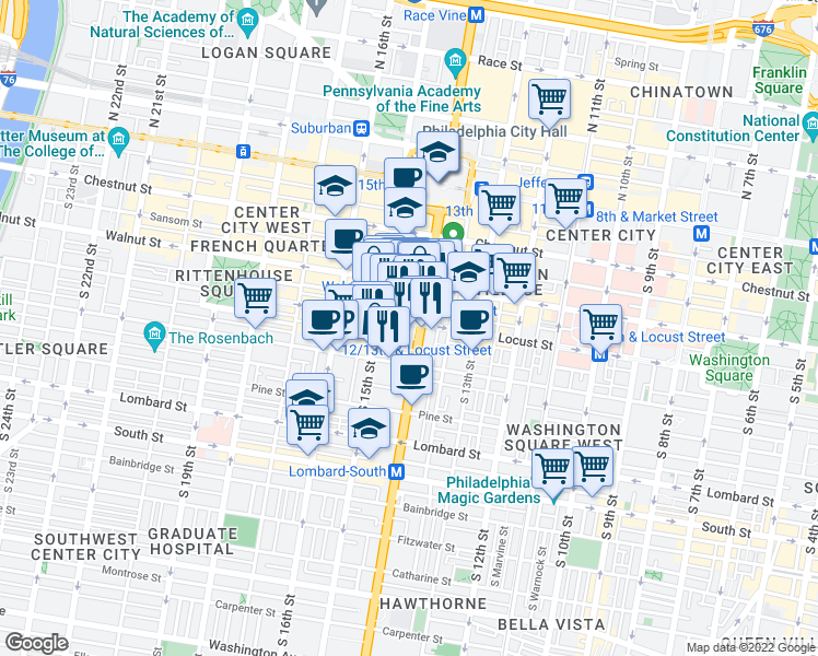 map of restaurants, bars, coffee shops, grocery stores, and more near 1501-1515 Cherry Street in Philadelphia