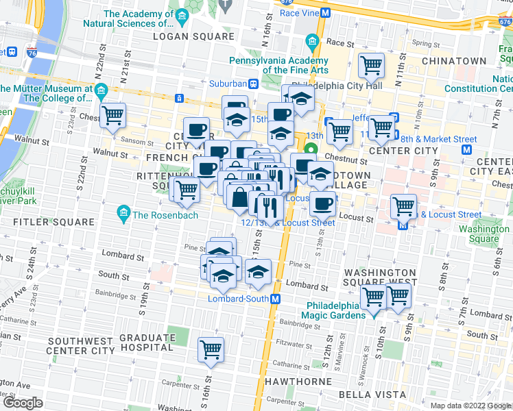 map of restaurants, bars, coffee shops, grocery stores, and more near 1500 Latimer Street in Philadelphia