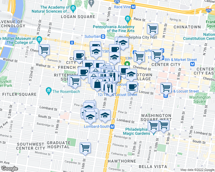 map of restaurants, bars, coffee shops, grocery stores, and more near S 15th St & Locust St in Philadelphia