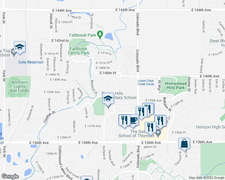 map of restaurants, bars, coffee shops, grocery stores, and more near 13925 Garfield Drive in Thornton