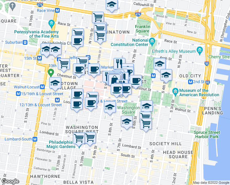 map of restaurants, bars, coffee shops, grocery stores, and more near 122 South 8th Street in Philadelphia