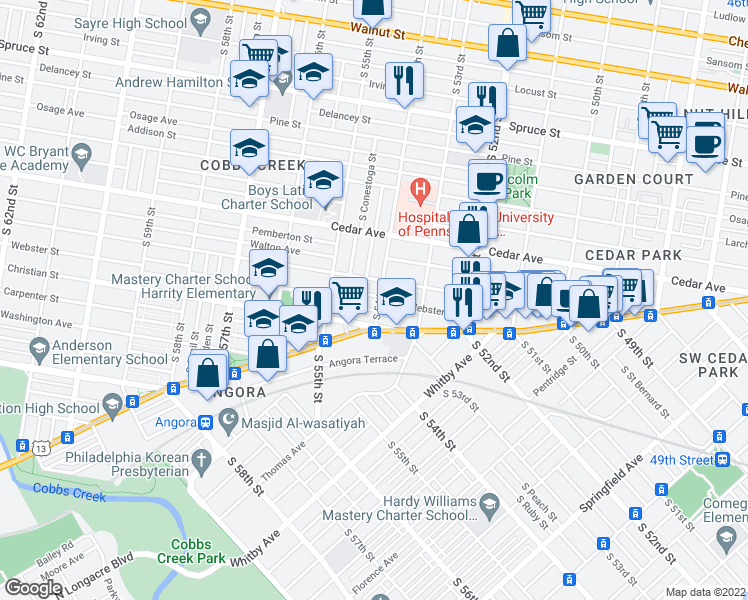 map of restaurants, bars, coffee shops, grocery stores, and more near 5404 Webster Street in Philadelphia