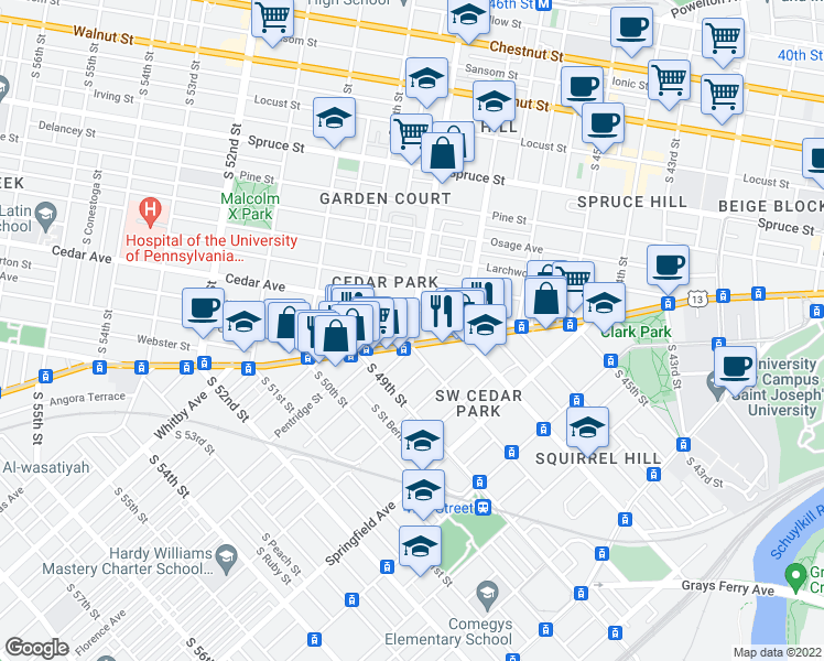 map of restaurants, bars, coffee shops, grocery stores, and more near South 48th Street & Walton Avenue in Philadelphia
