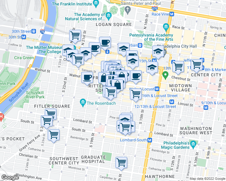 map of restaurants, bars, coffee shops, grocery stores, and more near 229 Chancellor Street in Philadelphia