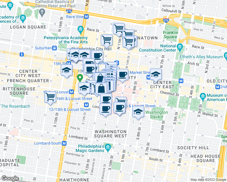 map of restaurants, bars, coffee shops, grocery stores, and more near 1099 Sansom St in Philadelphia