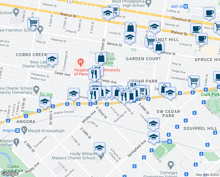 map of restaurants, bars, coffee shops, grocery stores, and more near South 51st Street & Walton Avenue in Philadelphia