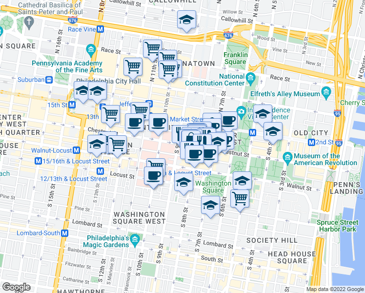 map of restaurants, bars, coffee shops, grocery stores, and more near 816 Chestnut Street in Philadelphia