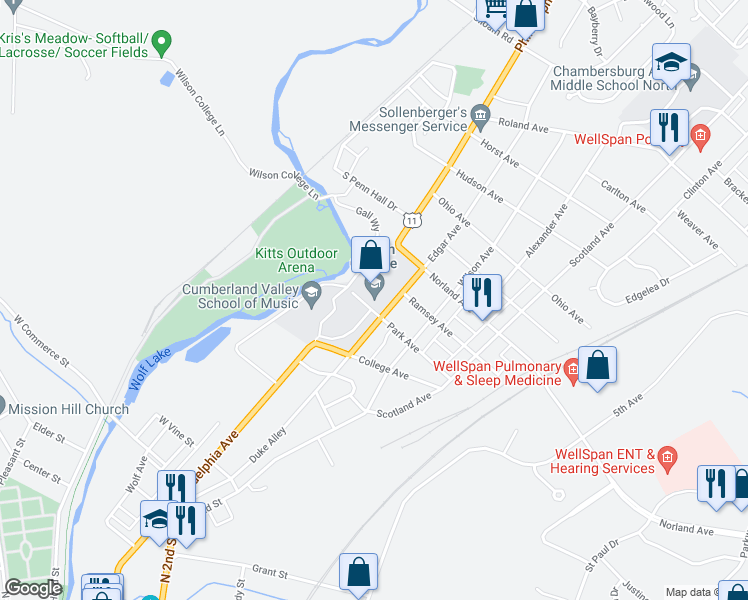 map of restaurants, bars, coffee shops, grocery stores, and more near 1015 Philadelphia Avenue in Chambersburg