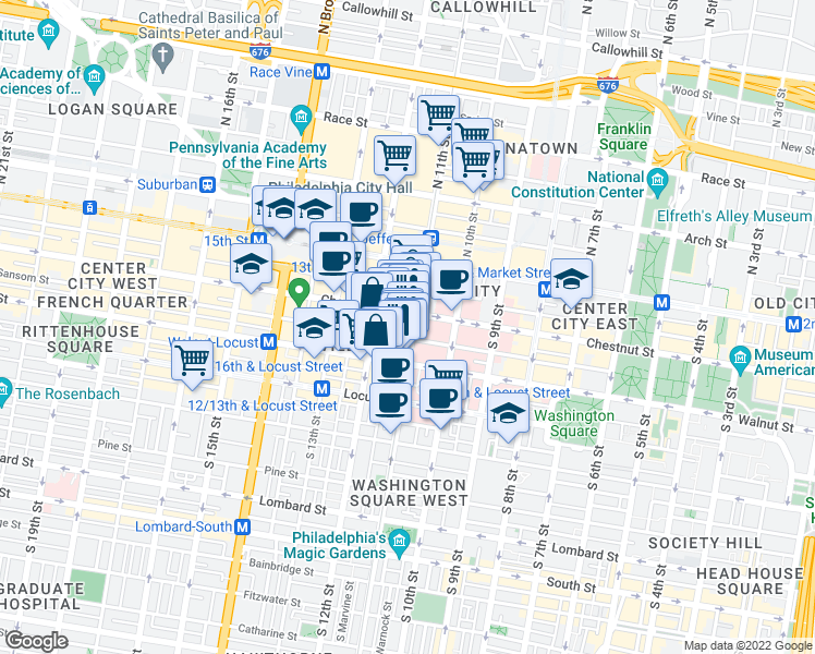 map of restaurants, bars, coffee shops, grocery stores, and more near 001S190167 in Philadelphia