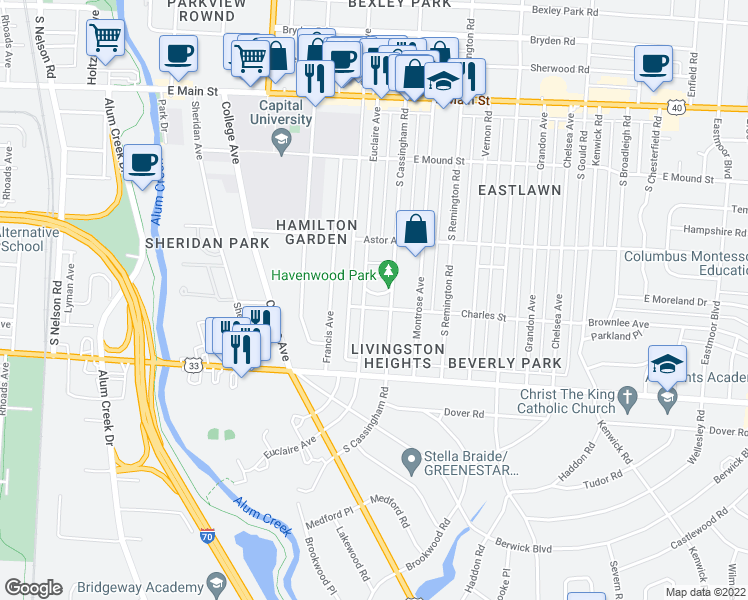 map of restaurants, bars, coffee shops, grocery stores, and more near 2399 Havenwood Drive South in Bexley