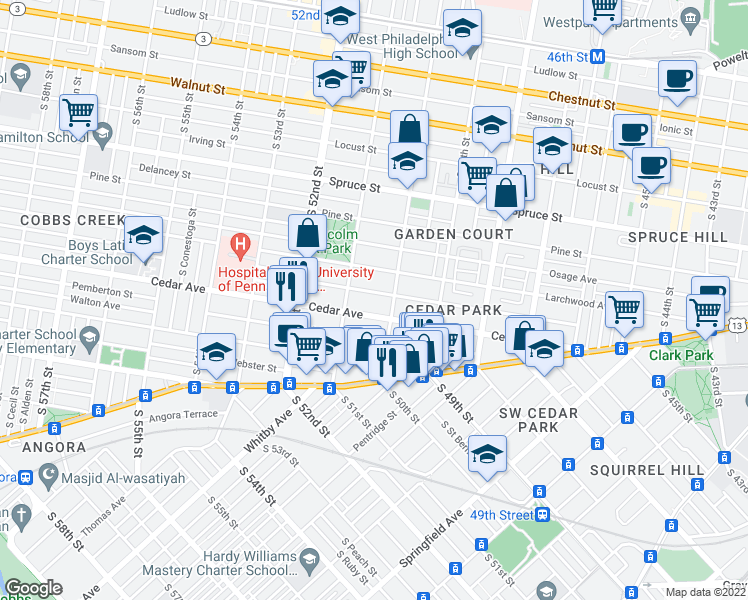 map of restaurants, bars, coffee shops, grocery stores, and more near 5018 Hazel Avenue in Philadelphia