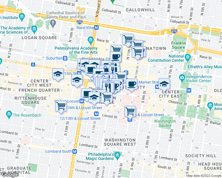 map of restaurants, bars, coffee shops, grocery stores, and more near 1201 Chestnut Street in Philadelphia