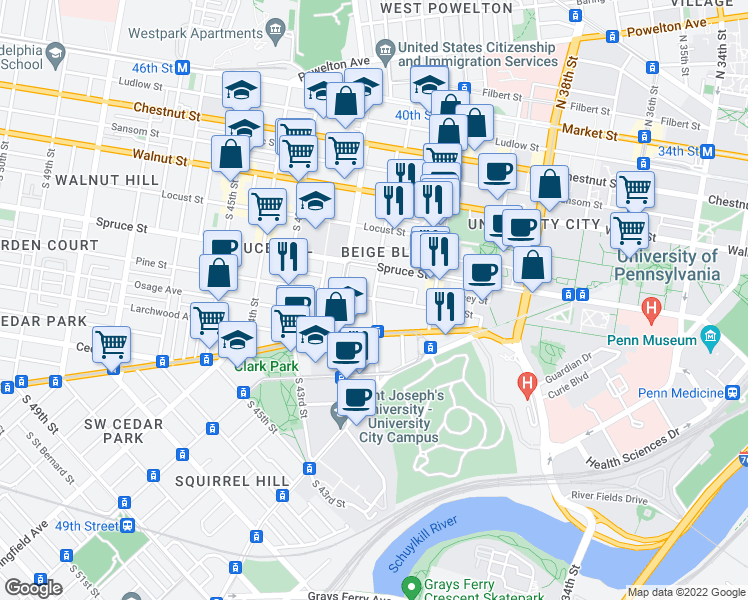 map of restaurants, bars, coffee shops, grocery stores, and more near Pine Street & South 41st Street in Philadelphia