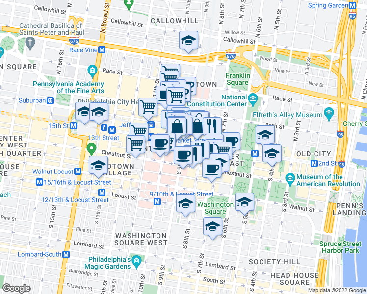 map of restaurants, bars, coffee shops, grocery stores, and more near 9 South 9th Street in Philadelphia