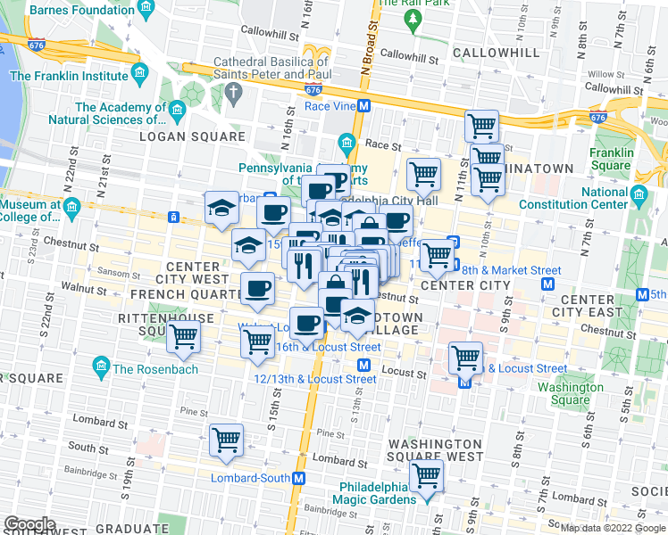 map of restaurants, bars, coffee shops, grocery stores, and more near 1 South Broad Street in Philadelphia