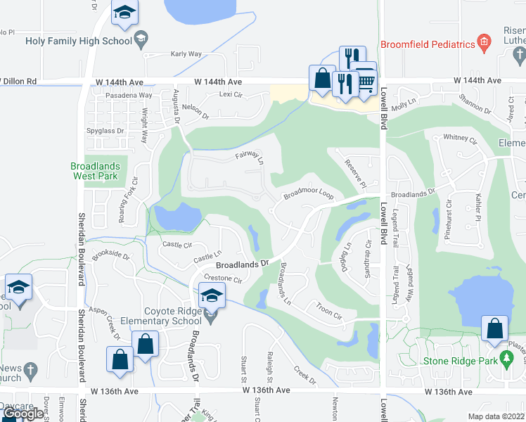 map of restaurants, bars, coffee shops, grocery stores, and more near 4155 Broadmoor Loop in Broomfield