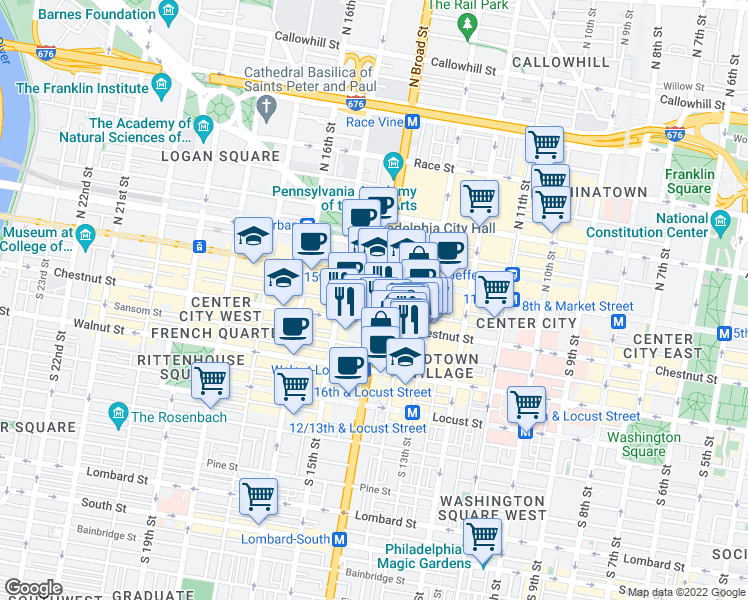 map of restaurants, bars, coffee shops, grocery stores, and more near S Penn Square in Philadelphia