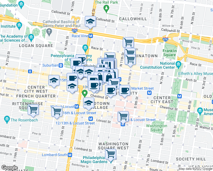 map of restaurants, bars, coffee shops, grocery stores, and more near 1201 Market Street in Philadelphia