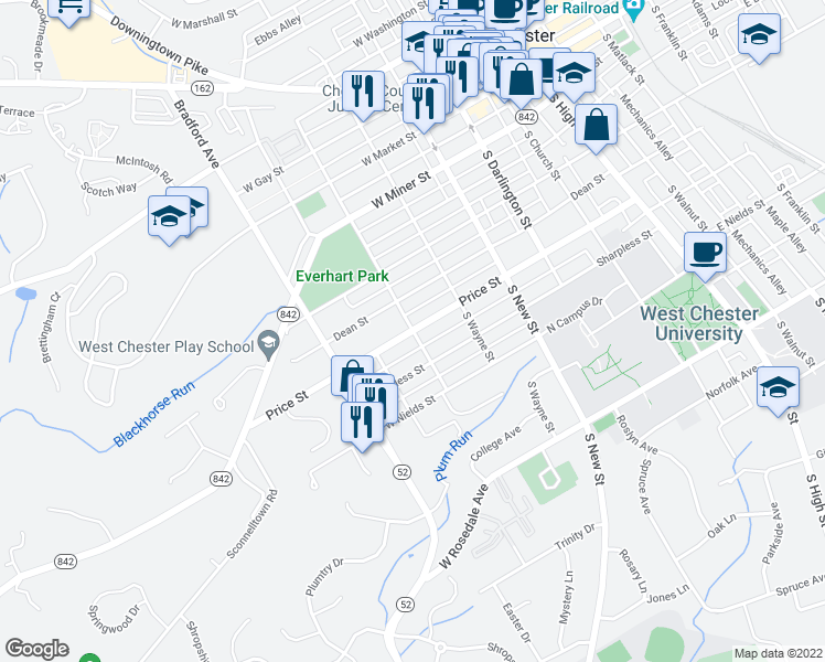 map of restaurants, bars, coffee shops, grocery stores, and more near Price Street in West Chester