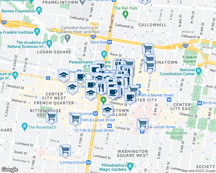 map of restaurants, bars, coffee shops, grocery stores, and more near North Juniper Street in Philadelphia