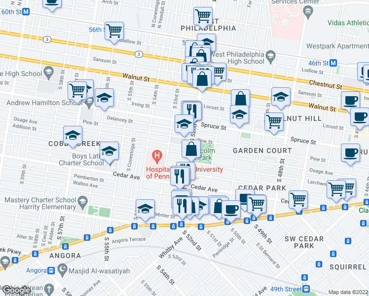 map of restaurants, bars, coffee shops, grocery stores, and more near 5212 Osage Avenue in Philadelphia