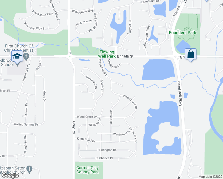 map of restaurants, bars, coffee shops, grocery stores, and more near 11365 Woodcreek Drive in Carmel