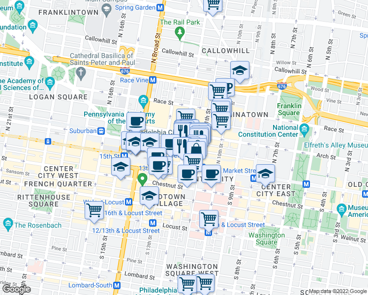 map of restaurants, bars, coffee shops, grocery stores, and more near 45 North 12th Street in Philadelphia