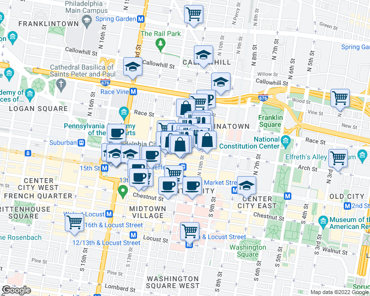 map of restaurants, bars, coffee shops, grocery stores, and more near N 11th St & Arch St in Philadelphia